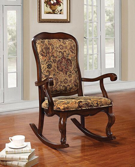 Fabric & cherry rocking chair