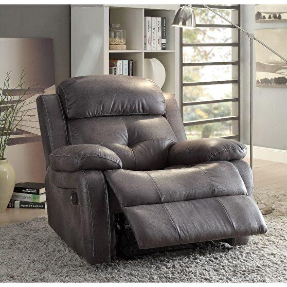 Gray polished microfiber recliner