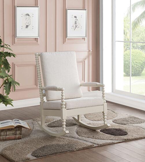 Cream fabric & white rocking chair