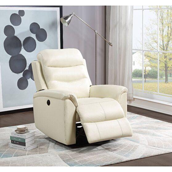 Beige top grain leather match power recliner chair
