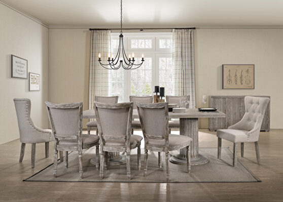 Reclaimed gray finish double pedestal dining table