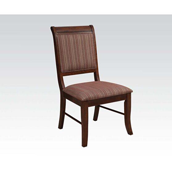 Fabric & espresso side chair