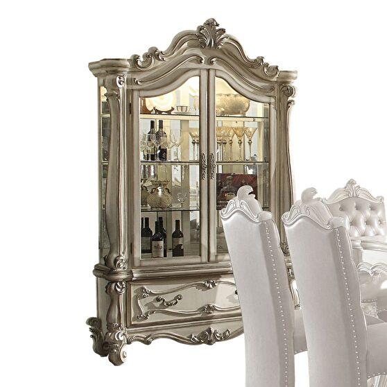 Bone white finish curio cabinet