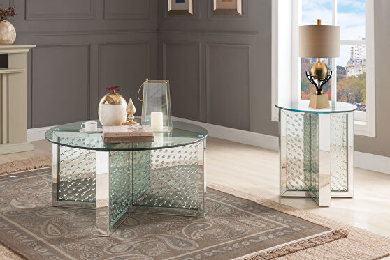 Mirrored & faux crystals coffee table