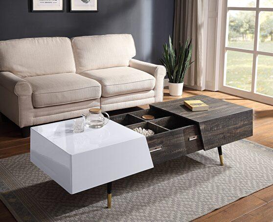 White high gloss & rustic oak finish coffee table