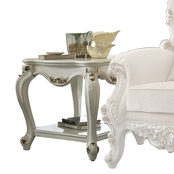 Antique pearl end table