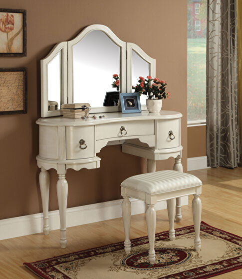 White finish vanity desk, stool and mirror