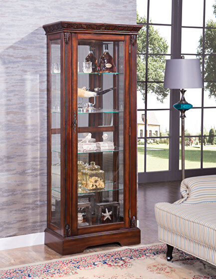 Cherry finish curio cabinet