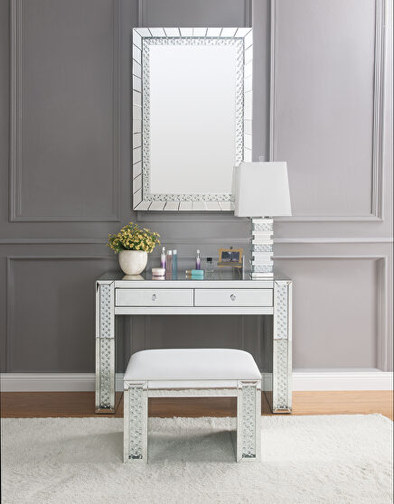 Mirrored & faux crystals vanity desk, stool and mirror