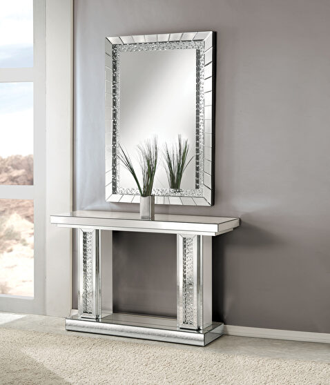 Mirrored & faux crystals console table