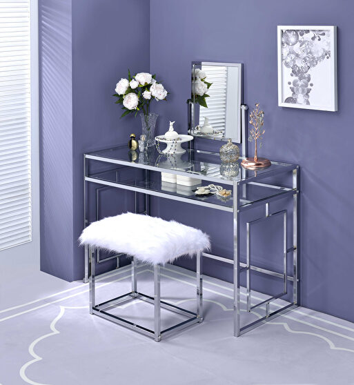 White faux fur & chrome vanity desk and stool