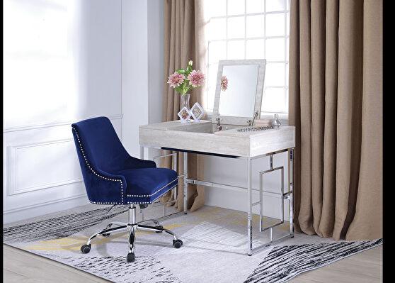 Natural & chrome vanity desk