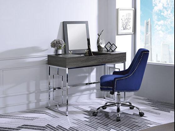 Black oak & chrome vanity desk
