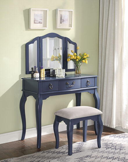Tan fabric & blue gray vanity set: desk, stool & mirror
