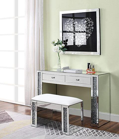 Mirrored & faux diamonds vanity desk, stool and wall art