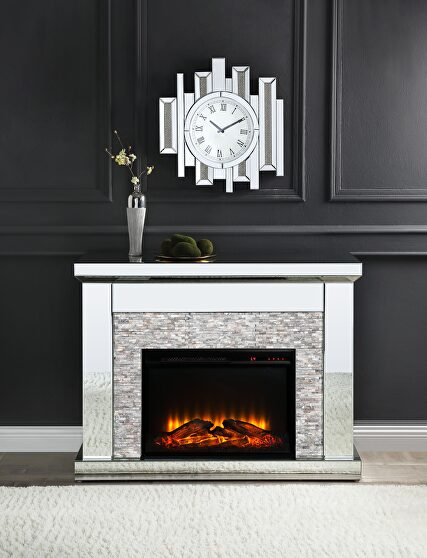 Mirrored & stone fireplace