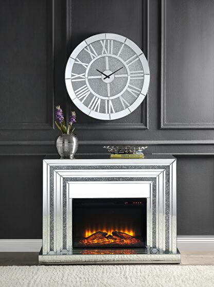 Mirrored & faux diamonds fireplace