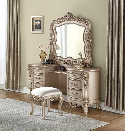 Antique white vanity desk, stool & mirror