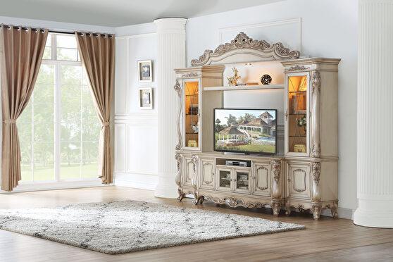 Antique white finish entertainment center