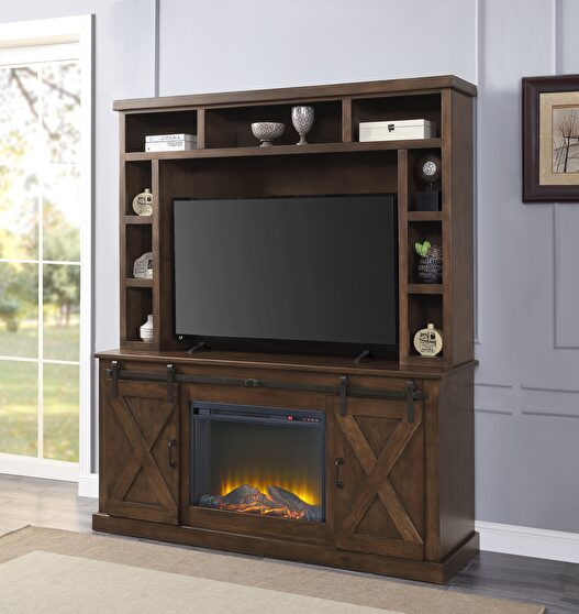 Walnut finish entertainment center with fireplace