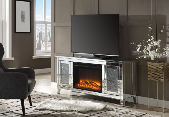 Mirrored & faux diamonds TV stand w/fireplace, mirrored & faux diamonds