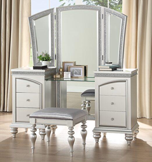 Fabric & platinum finish vanity desk, stool & mirror