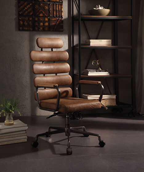 Retro brown top grain leather executive office chair