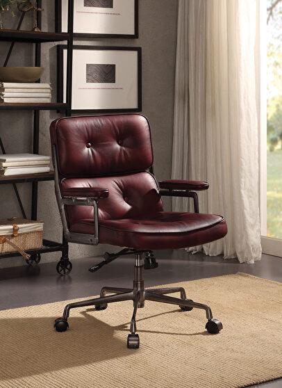 Vintage merlot top grain leather executive office chair