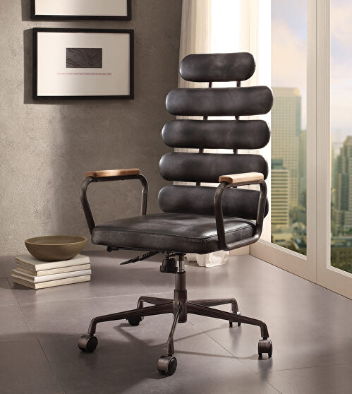 Vintage black top grain leather executive office chair