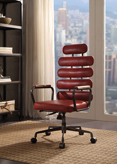 Antique red top grain leather executive office chair