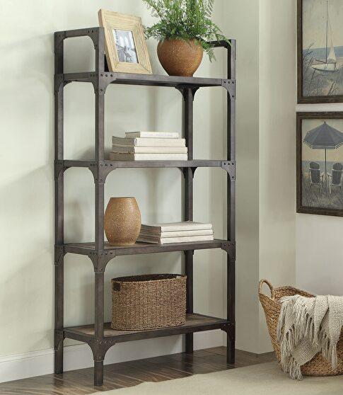 Weathered oak & antique silver bookshelf