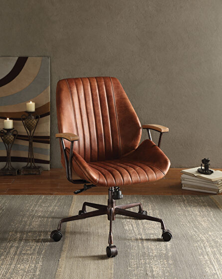 Cocoa top grain leather executive office chair