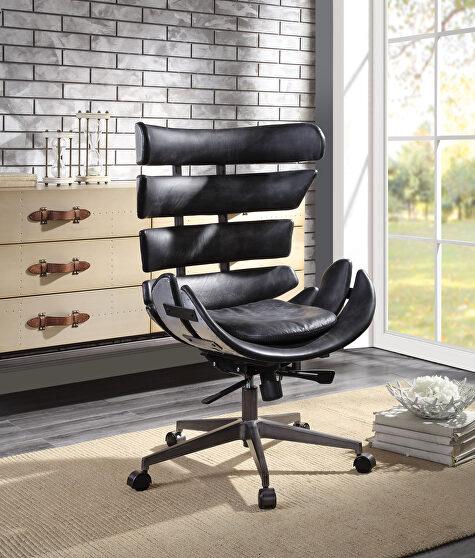 Vintage black top grain leather & aluminum executive office chair,