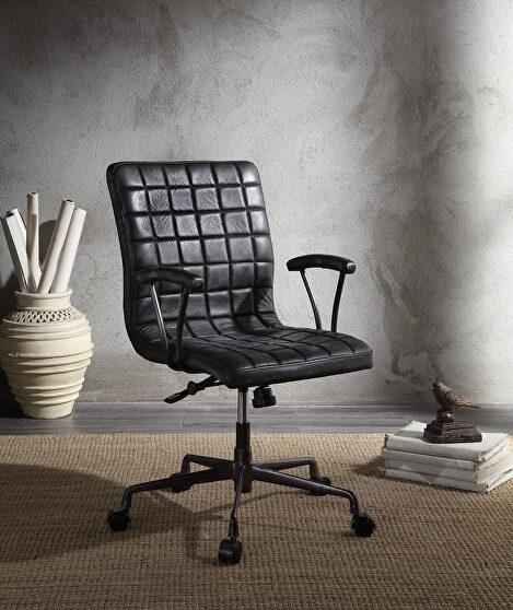 Vintage black top grain leather & aluminum executive office chair