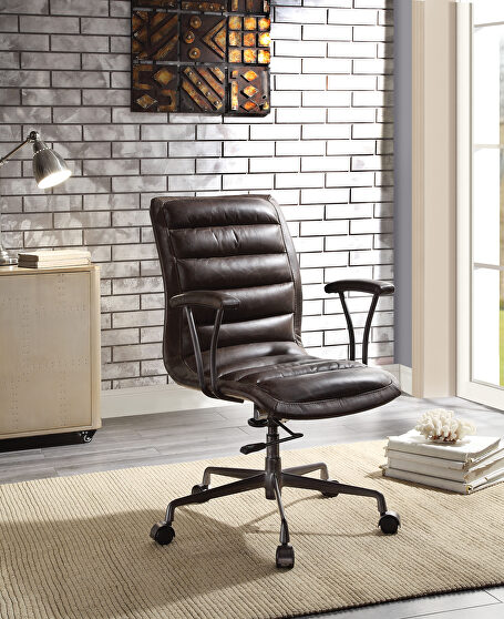 Distress chocolate top grain leather executive office chair