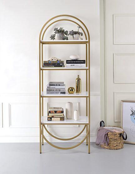 White high gloss & gold bookcase