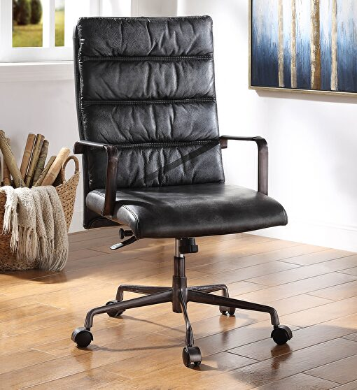 Vintage black top grain leather