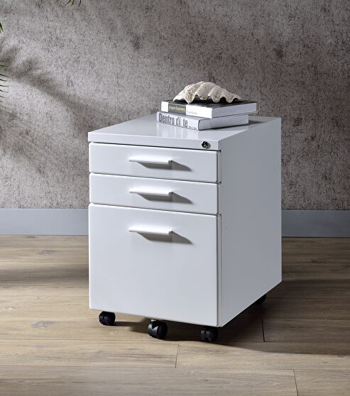 White finish file cabinet
