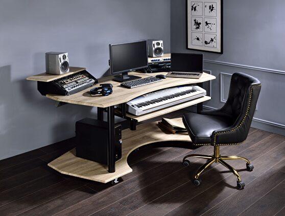 Natural oak music recording studio desk