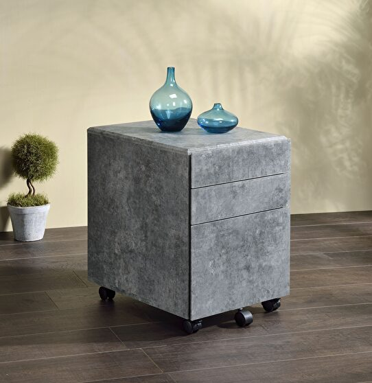 Faux concrete & silver file cabinet