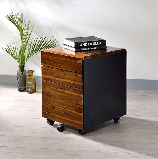 Oak & black file cabinet