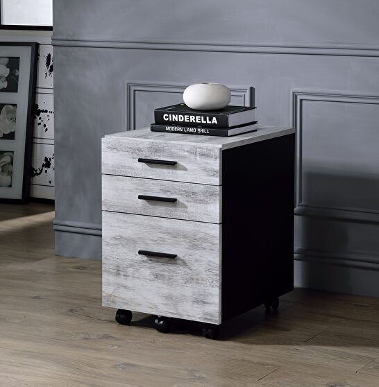 Antique white & black file cabinet