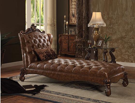 2-tone light brown pu & cherry oak chaise w/1 pillow
