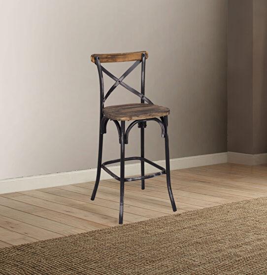 Antique black & antique oak bar chair