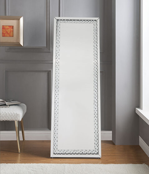 Mirrored & faux crystals floor accent mirror