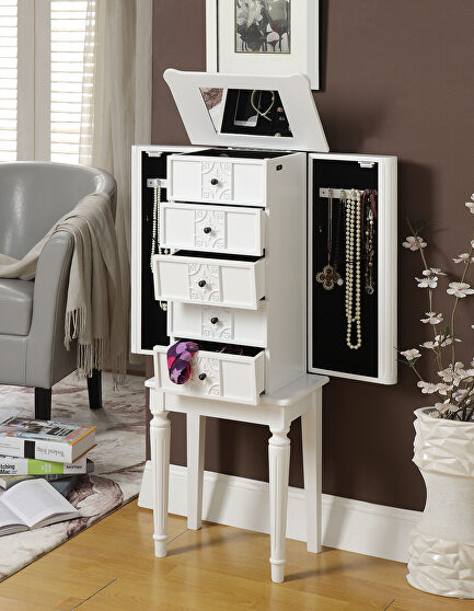 White finish jewelry armoire