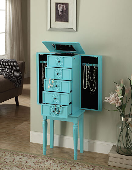 Light blue finish jewelry armoire