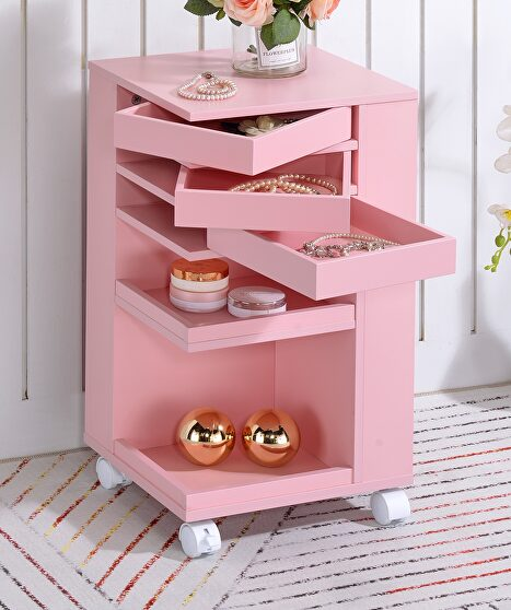 Pink finish cabinet with storage