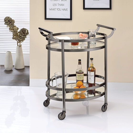 Black nickel & clear glass serving cart