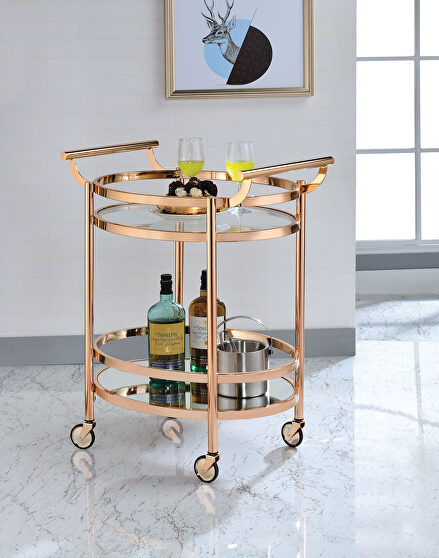 Rose gold & clear glass serving cart